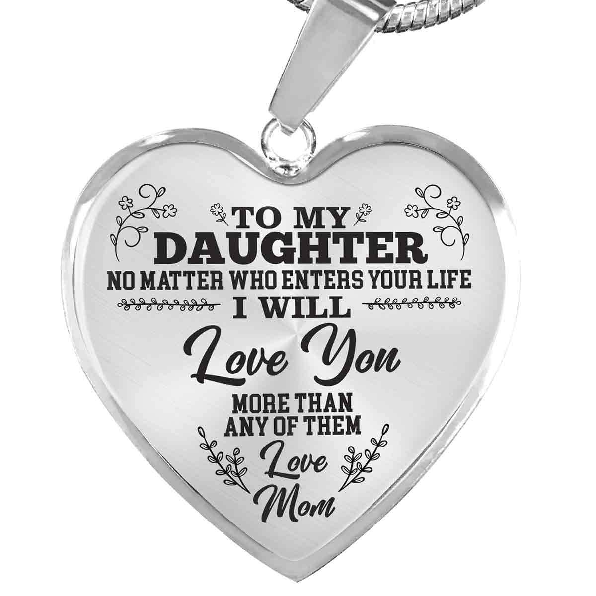 To My Daughter - Love Mom - Heart Necklace