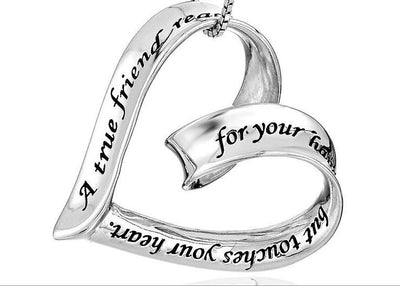 """A True Friend Reaches For Your Hand But Touches Your Heart"" Ribbon Heart Pendant Necklace - Passion Jewelry Shop - 2"