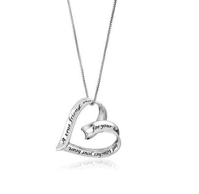 """A True Friend Reaches For Your Hand But Touches Your Heart"" Ribbon Heart Pendant Necklace - Passion Jewelry Shop - 1"
