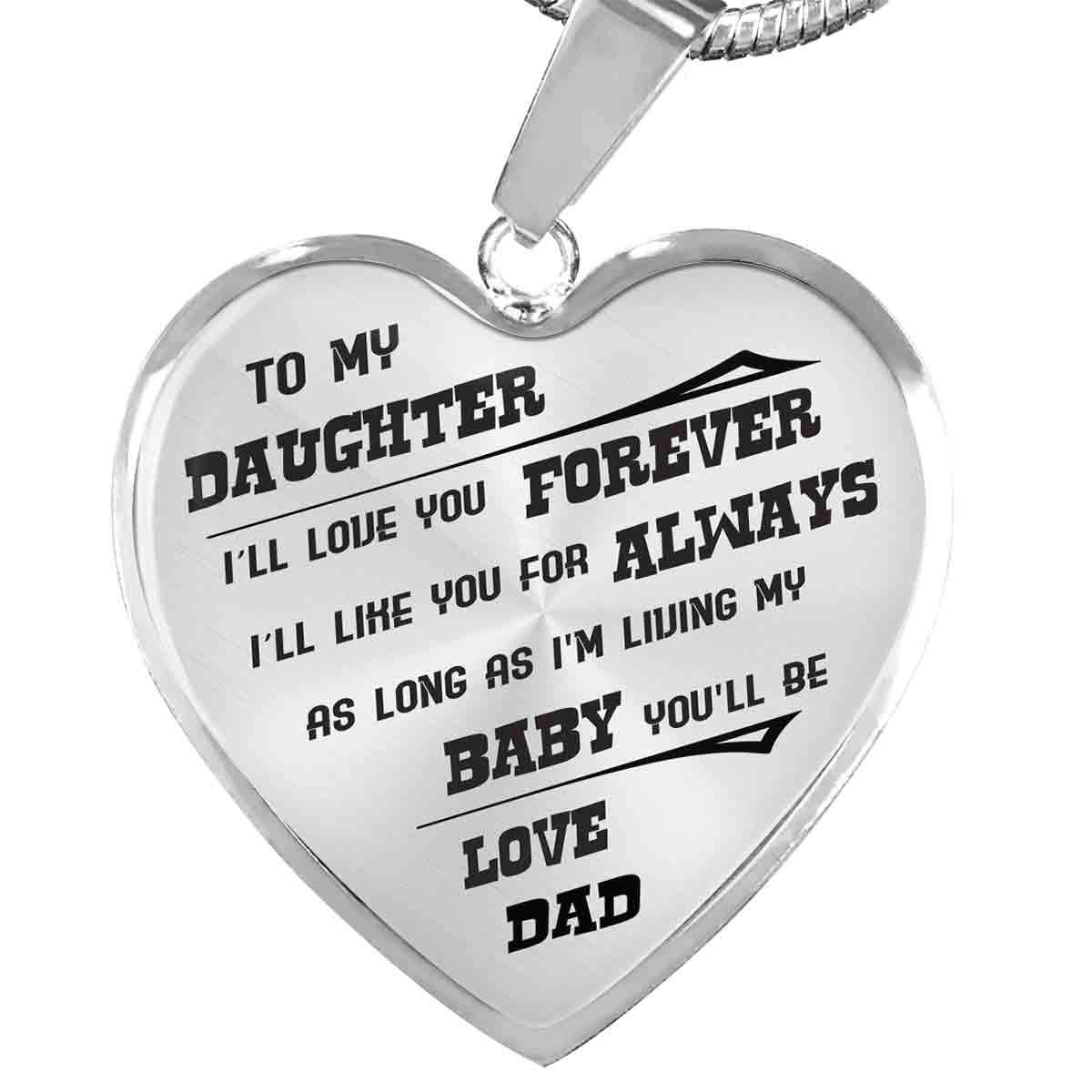 To My Daughter - Love Dad - Luxury Heart Necklace