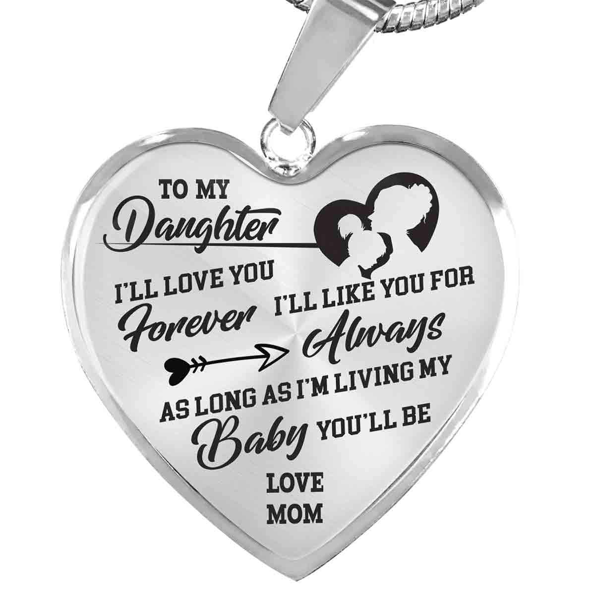 To My Daughter - Love Mom - Luxury Heart Necklace