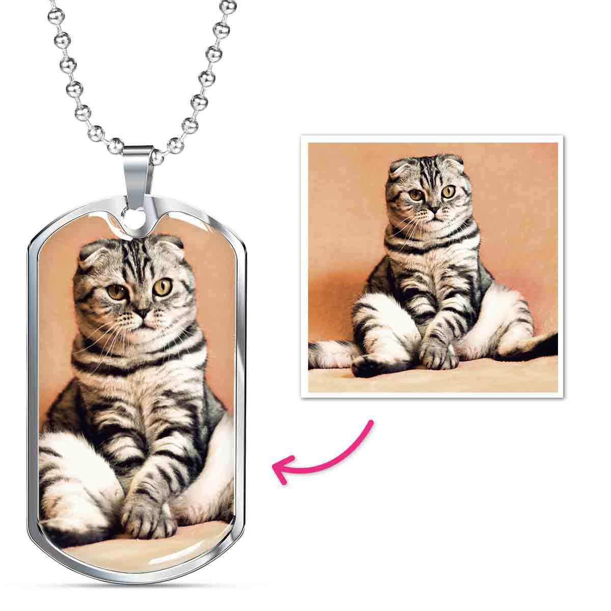 Personalized Engravable Dog tag photo necklace