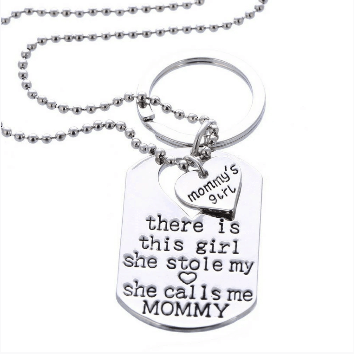 Mommy's Girl Necklace Set or Mommy's Girl Keychain Set