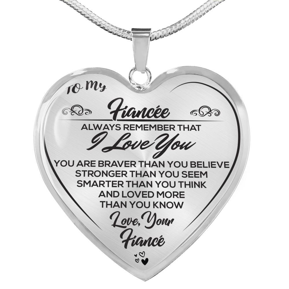 To My  Fiancée - Love, Your Fiance - Luxury Heart Necklace