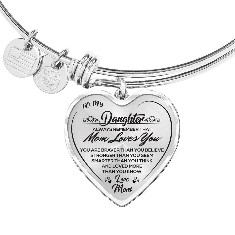 To My Daughter - Love Mom - Heart Bangle