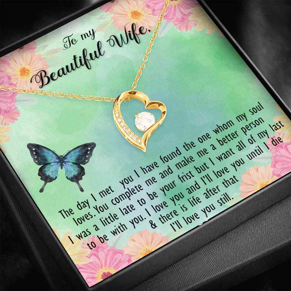To My Beautiful Wife - I Love You - Forever Necklace - (MADE IN THE USA)