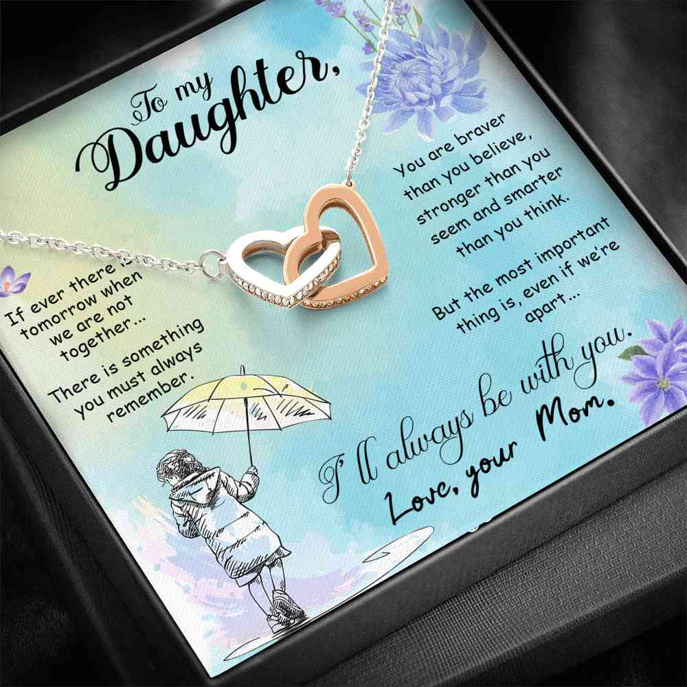 To My Daughter - Double Heart Necklace - (MADE IN THE USA)