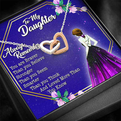 To My Daughter - You Are Braver - Double Heart Necklace - (MADE IN THE USA)