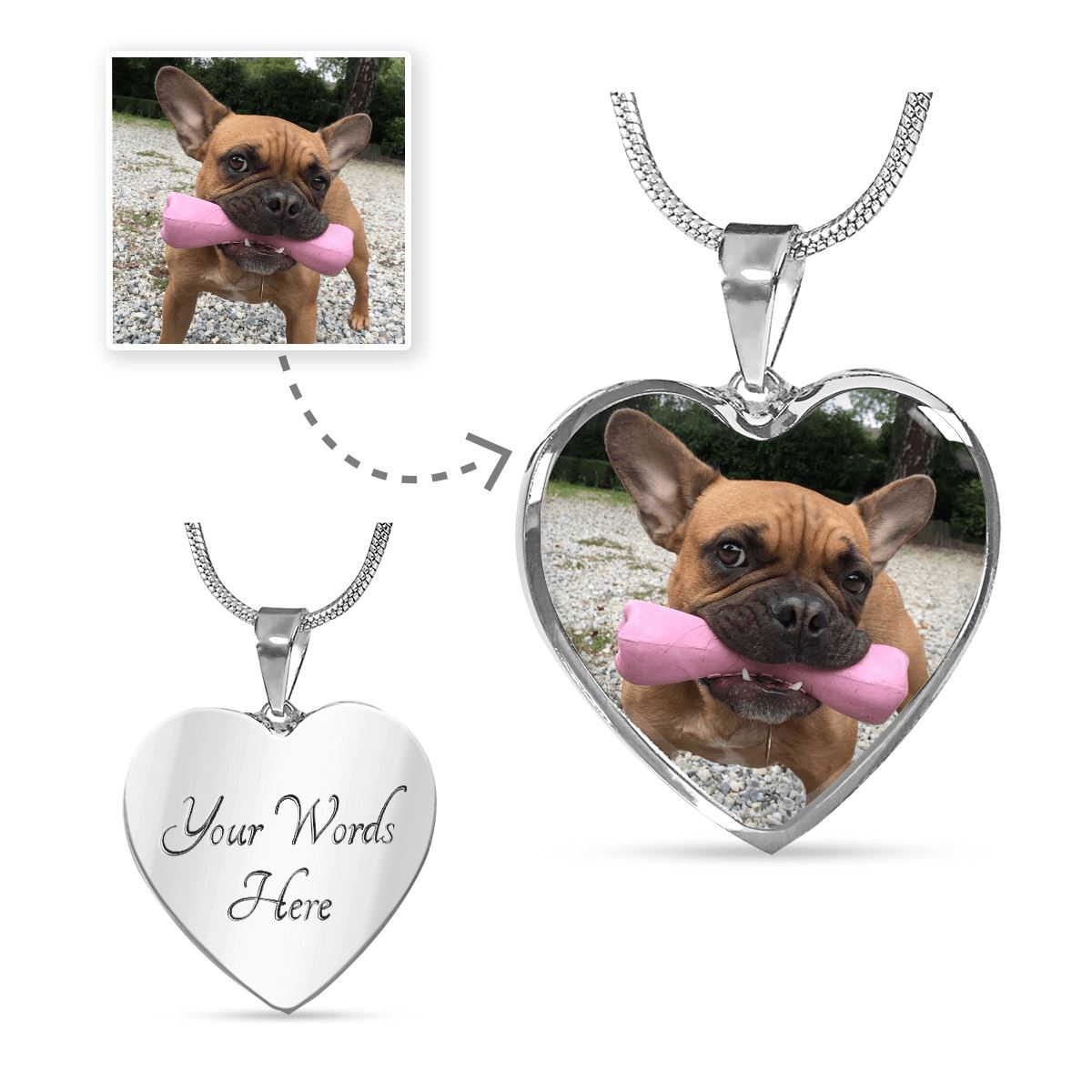 Personalized Engravable Photo Heart Necklace