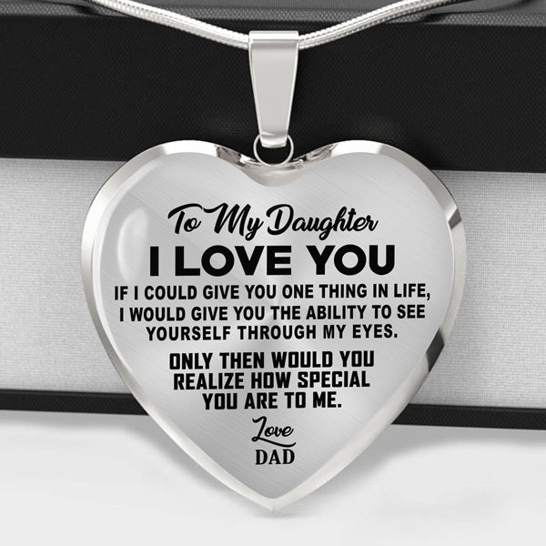 To My Daughter - I Love You - Heart Necklace - (MADE IN THE USA)