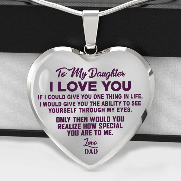 TO MY DAUGHTER - I LOVE YOU - PURPLE TEXT -  HEART NECKLACE - (MADE IN THE USA)