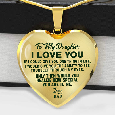 TO MY DAUGHTER - I LOVE YOU - GREEN TEXT - HEART NECKLACE - (MADE IN THE USA)
