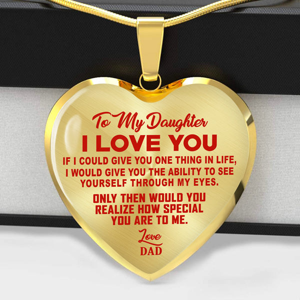 TO MY DAUGHTER - I LOVE YOU - RED TEXT - HEART NECKLACE - (MADE IN THE USA)