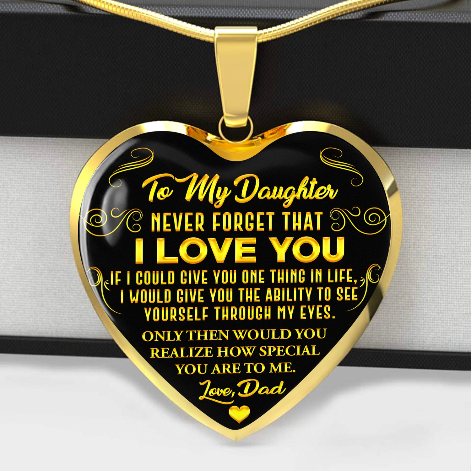 Never Forget - I Love You - Love Dad - Gold Text Necklace