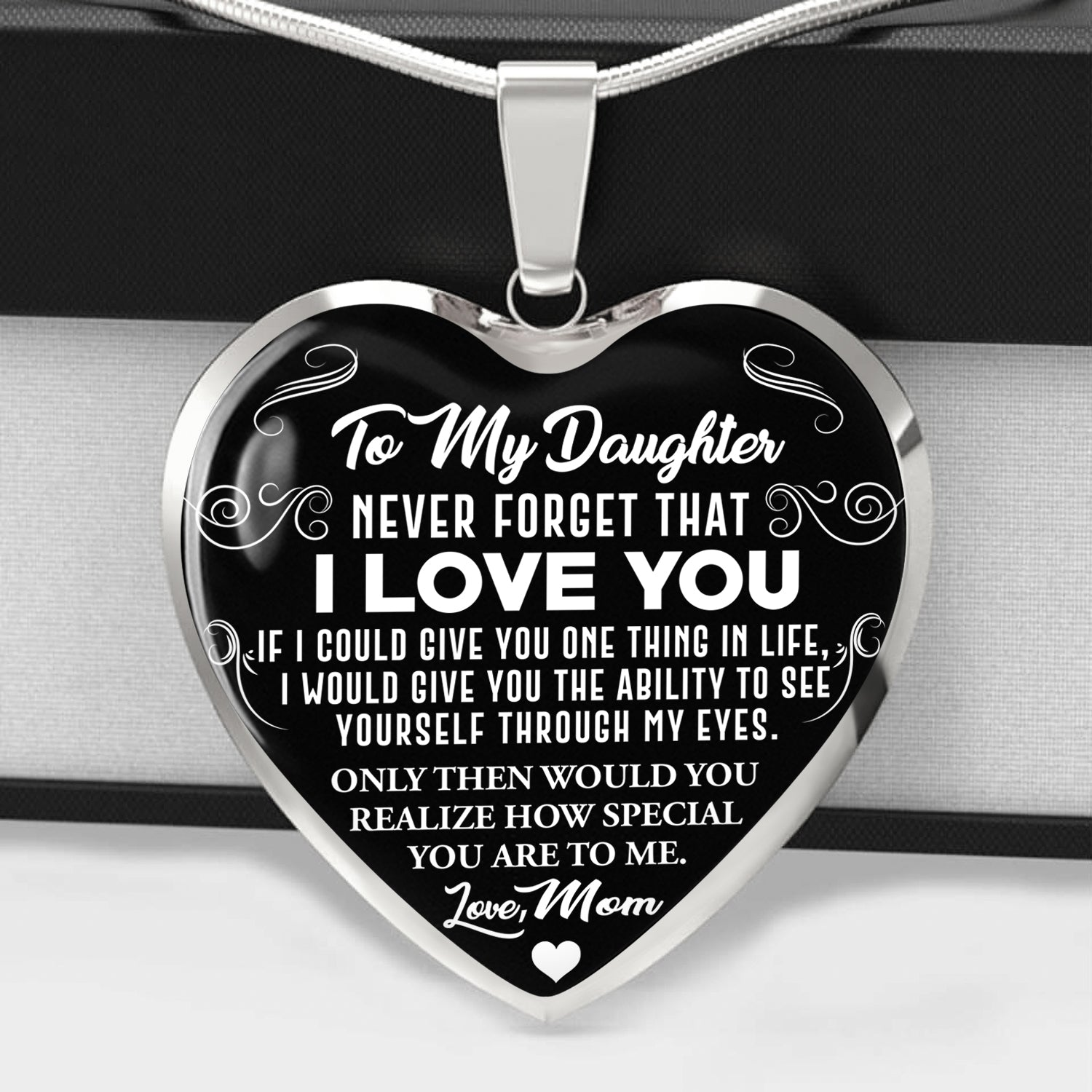 Never Forget - I Love You - Love Mom - Heart Necklace