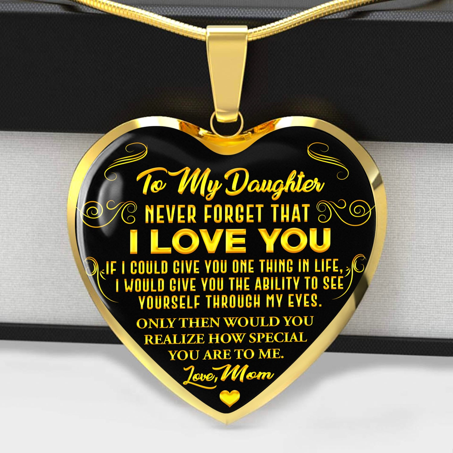Never Forget - I Love You - Love Mom - Gold Necklace
