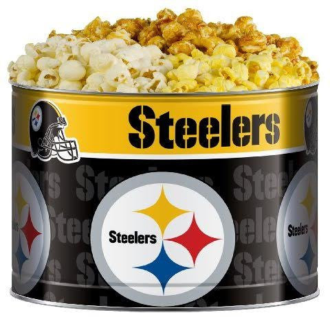 Pittsburgh Steelers NFL Gourmet Popcorn Tin 3 Flavor White Cheddar, Butter and Carmel in 2 Gallon Tin