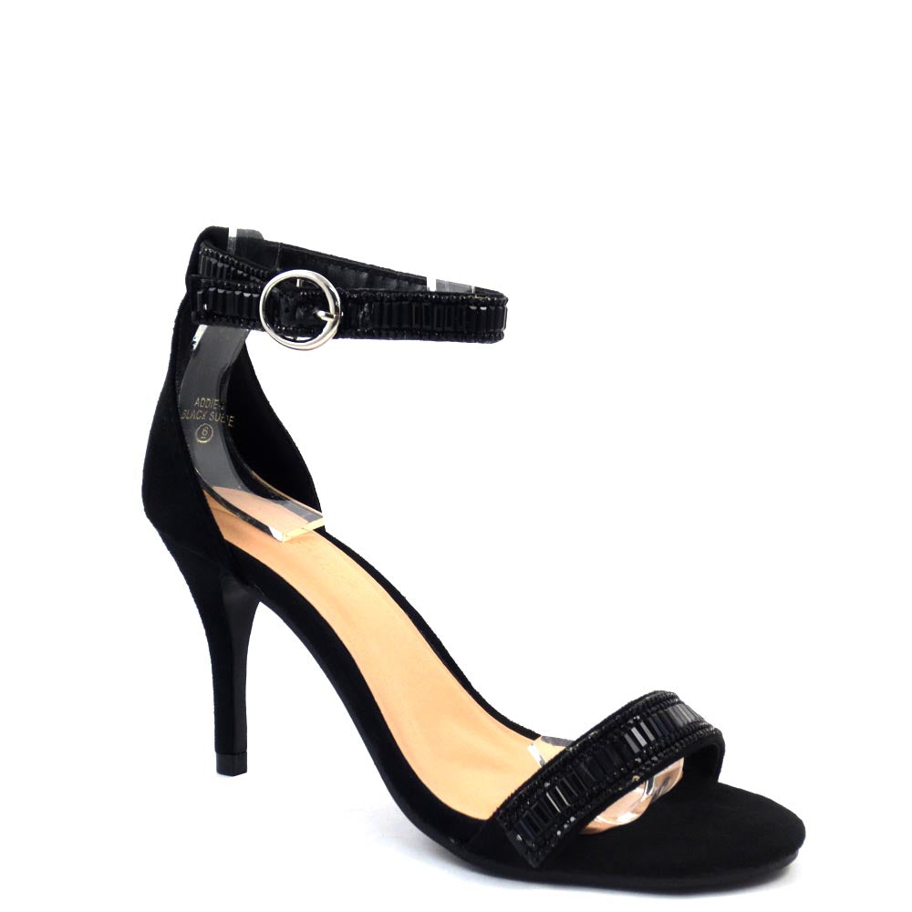 Love Mark Open Toe Ankle Strap Buckle Detail Mid Size Heels - Addie 25