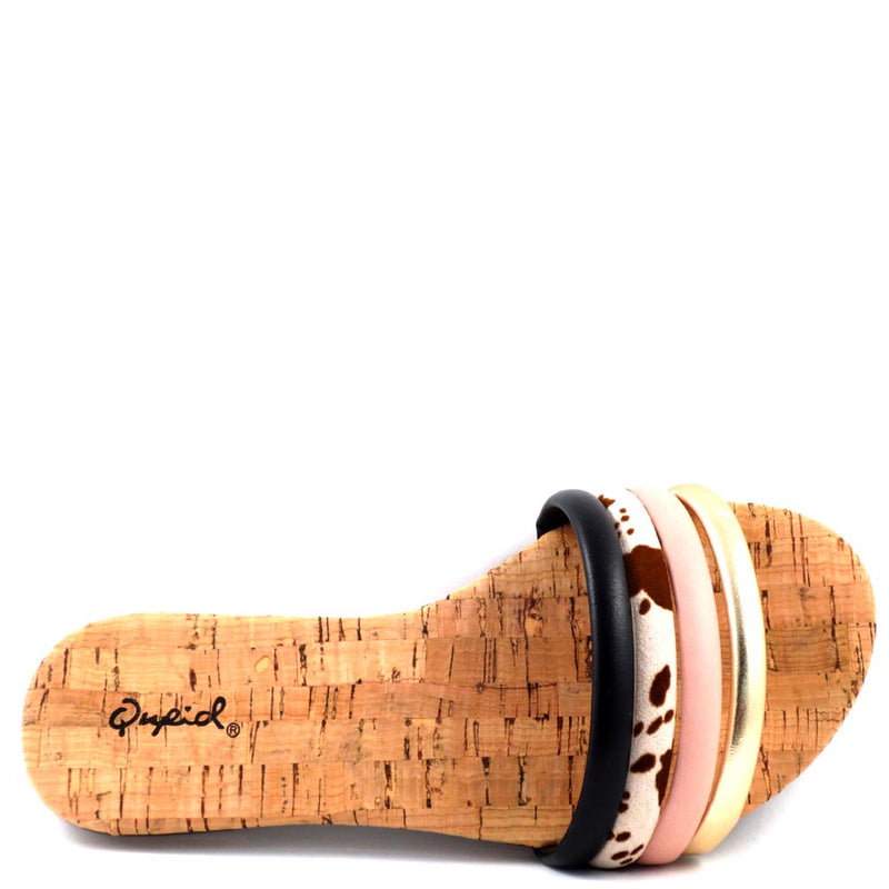 Qupid Open Toe Multi Color Cork Look Insole Comfort Sandals - Archer 711