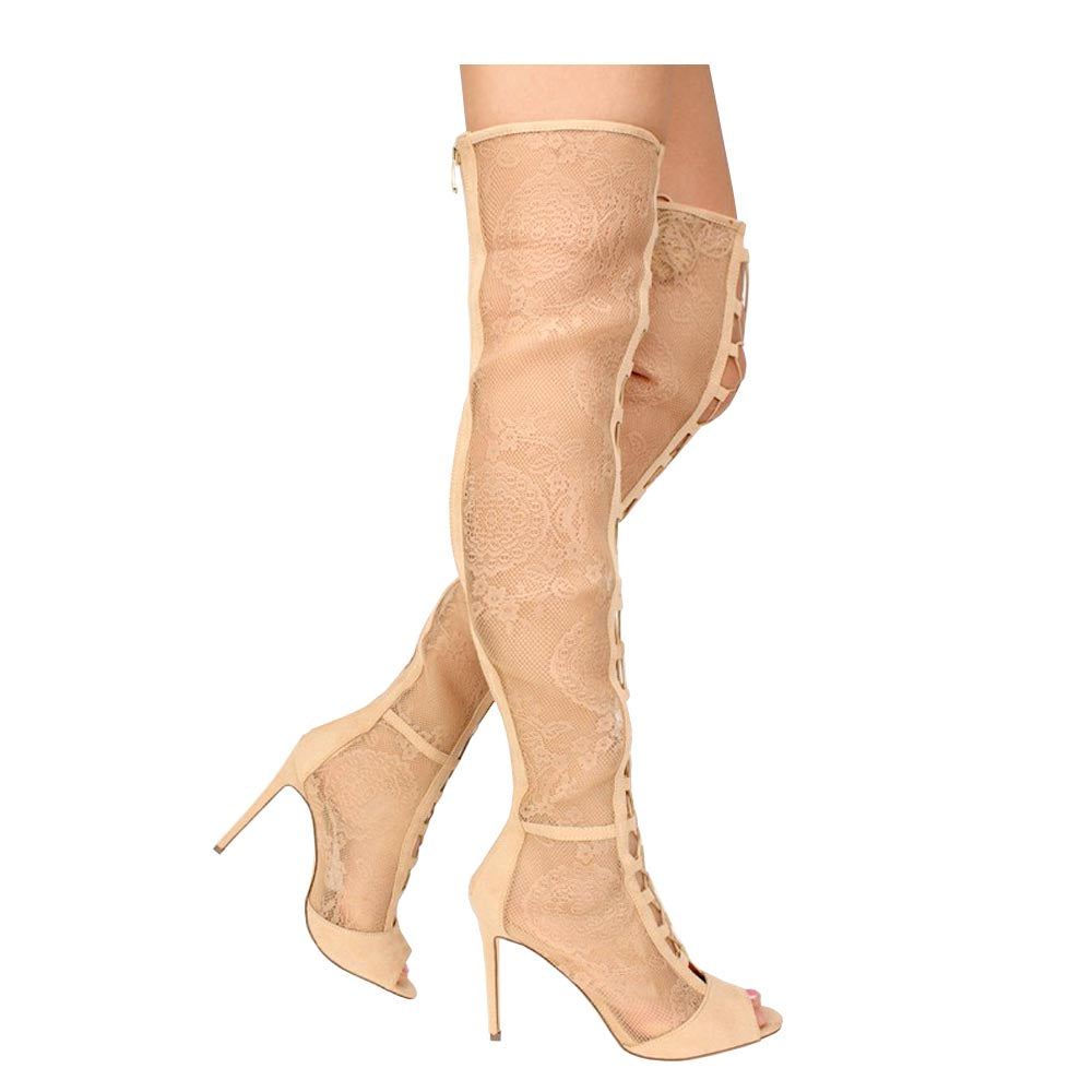 Liliana Lace Upper Open Toe Tie Up Knee High Boots - Barbara 65