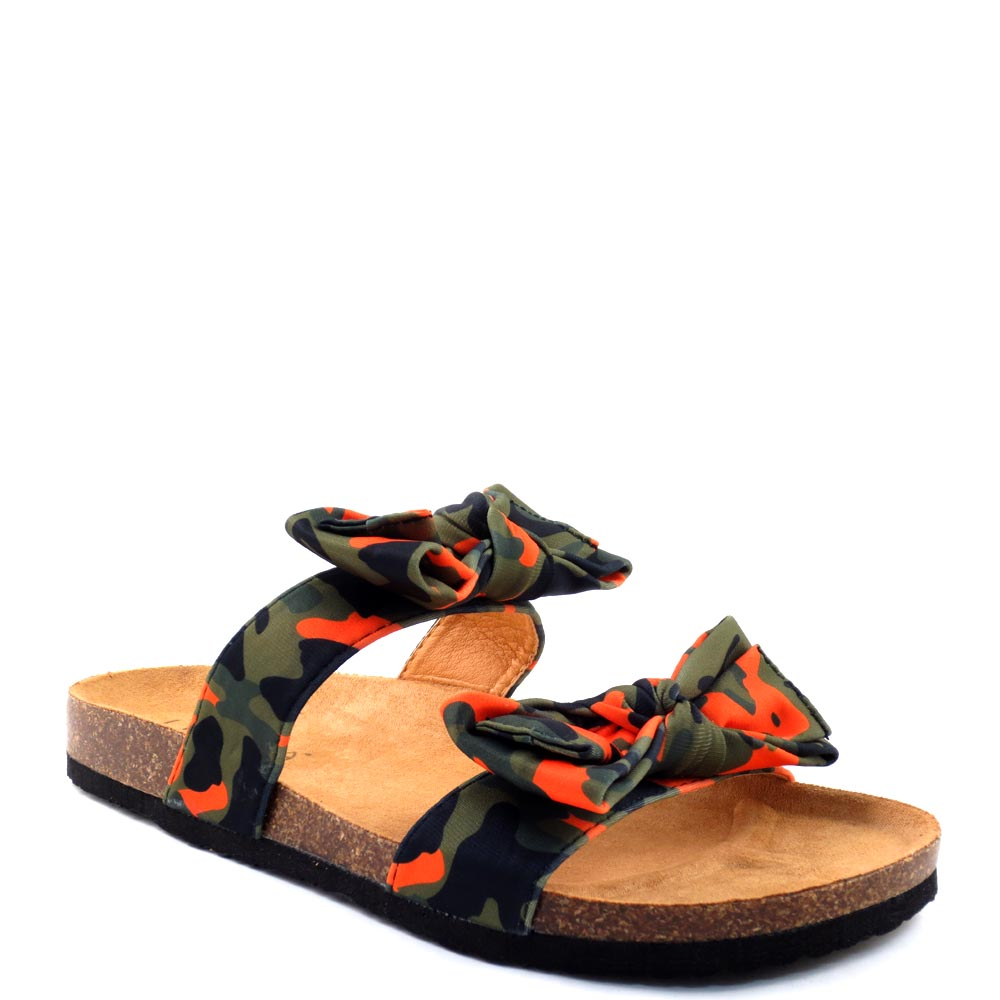 Liliana Birkenstock Inspired Knotted Bow Tie Detail Slide In Sandals - Bellariva