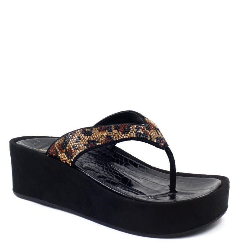 Shoe Republic LA Detail Embedded Rhinestone Thong Wedge Sandals - Britney