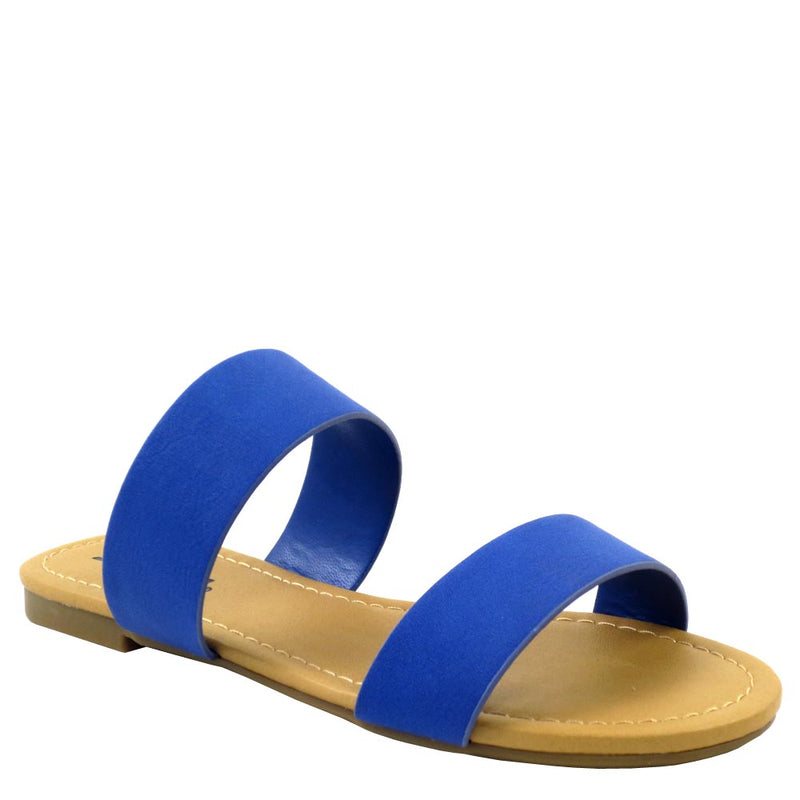 Soda Two Band Open Toe Slide In Flat Sandals - Browse
