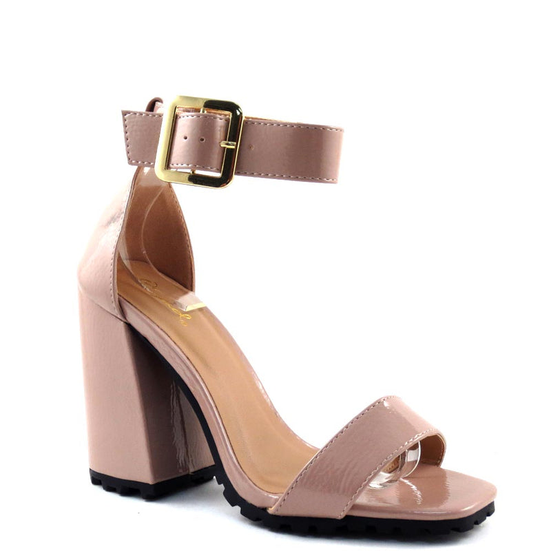 Qupid Open Toe Ankle Strap Buckle Detail Chunky Heels - Cage 61