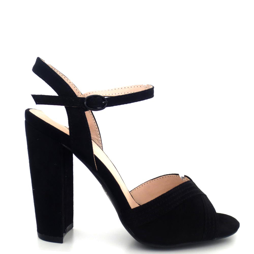 Women's Qupid Peep Toe Ankle Strap Chunky Heels - Cashmere 106