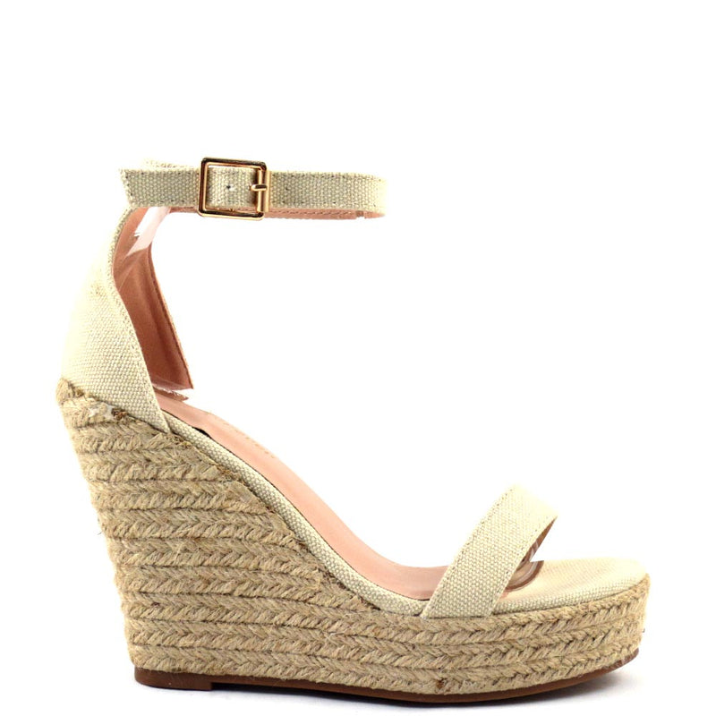 Women's Forever Open Toe Ankle Strap Platform Espadrille Rope Wedges - Damita 16