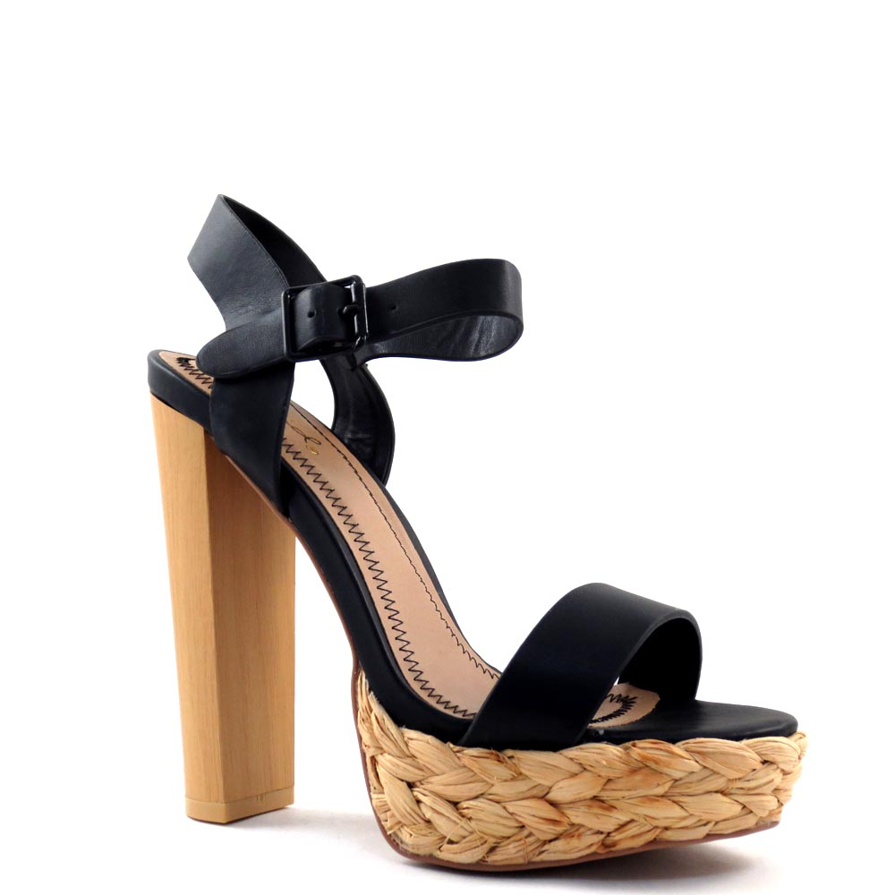 Qupid Open Toe Ankle Strap Rope Platform Chunky High  Heels - Dearly