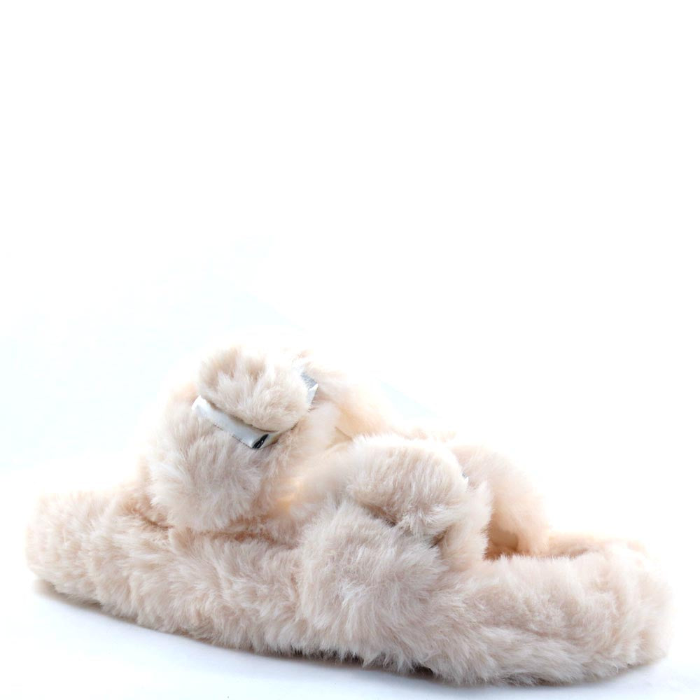 Liliana Open Toe Twin Buckle Detail Furry Sandals - Dearly