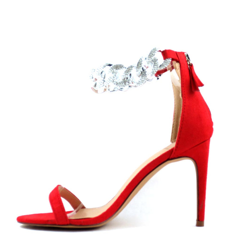Promise by Shoe Republic LA Open Toe Blingy Ankle Strap Detail Stiletto Heels - Doline
