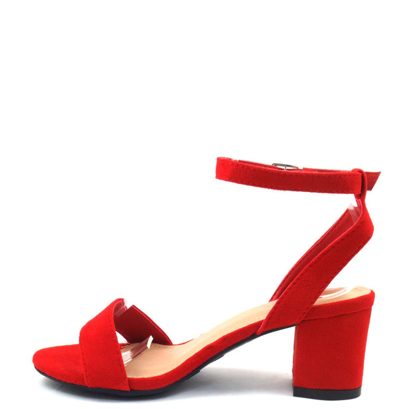 Love Mark Open Toe Ankle Strap Short Block Heels - Dover