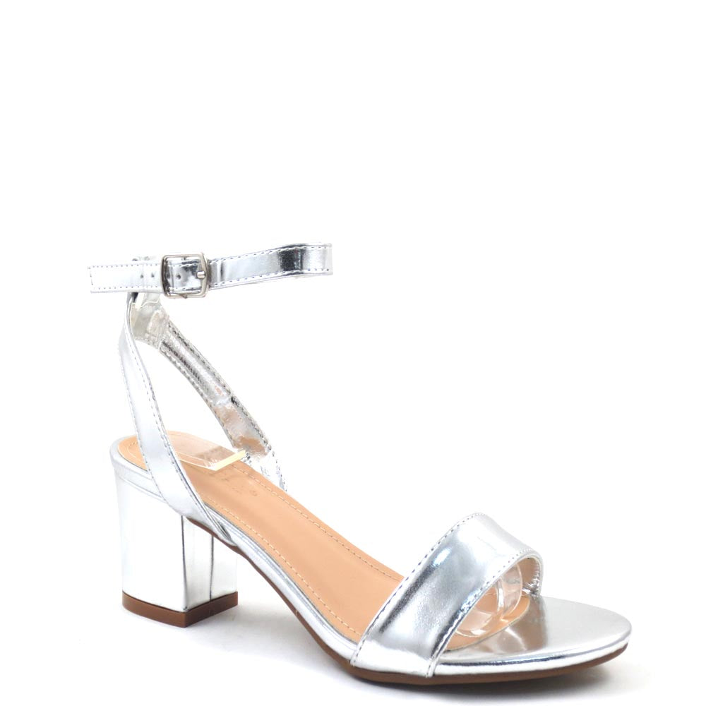 Women's Love Mark Open Toe Clear Band Ankle Strap Short Block Heels - Dover