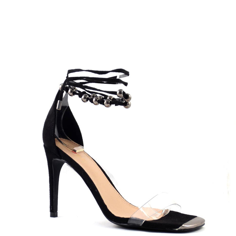 Promise by Shoe Republic LA Clear Open Toe Strappy Beaded Lace Up Heels - Drill
