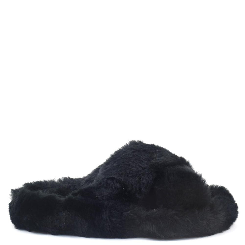 Soda Criss Cross Open Toe Fury House Slippers - Engage
