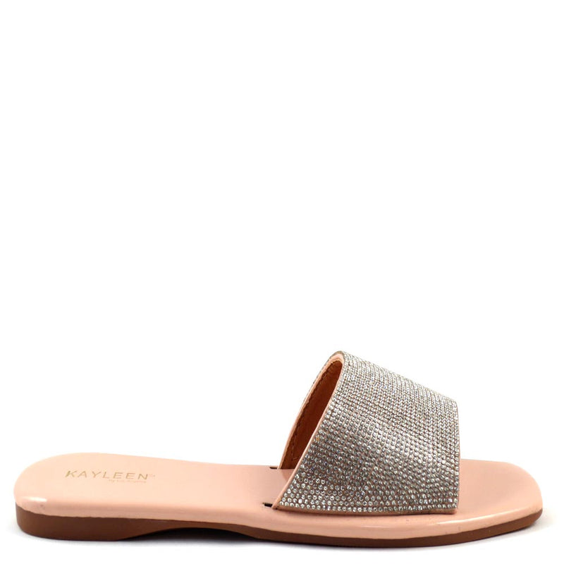 Kayleen Open Toe Rhinestone Detail Upper Slide In Sandals - Erinn