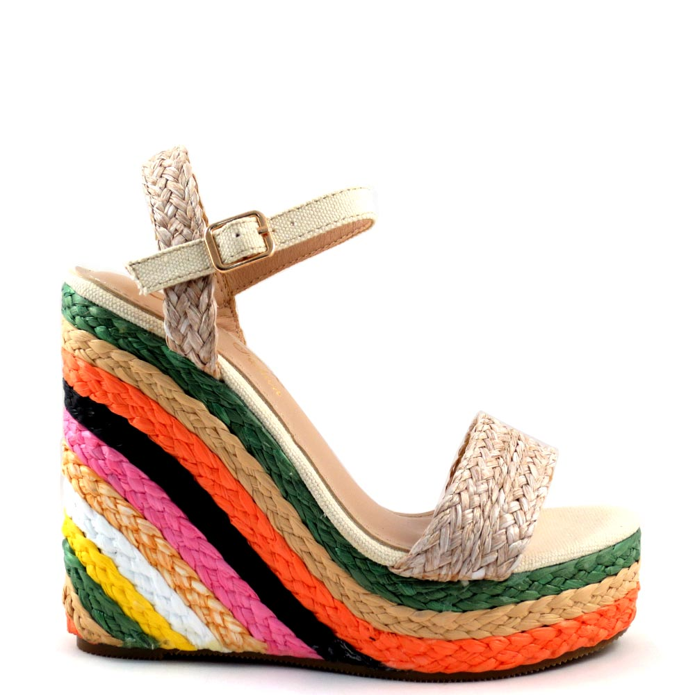 DBDK Open Toe Ankle Strap Multi Color Espadrille Wedge - Evgenia