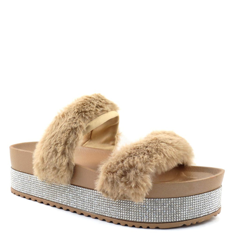 Olivia Jaymes Two Band Furry Upper Detailed Rhinestone Platform Sandals - Flake