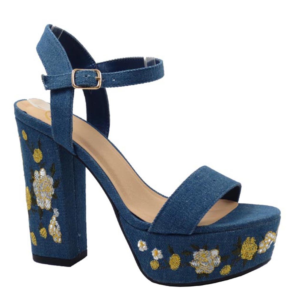 Delicious Open Toe Ankle Strap Detail Print Platform Heels - Forum