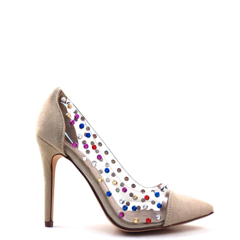 Gigi-09 Red Cherry Nude Colorful Studded Transparent Sides Pointed Toe High Heels