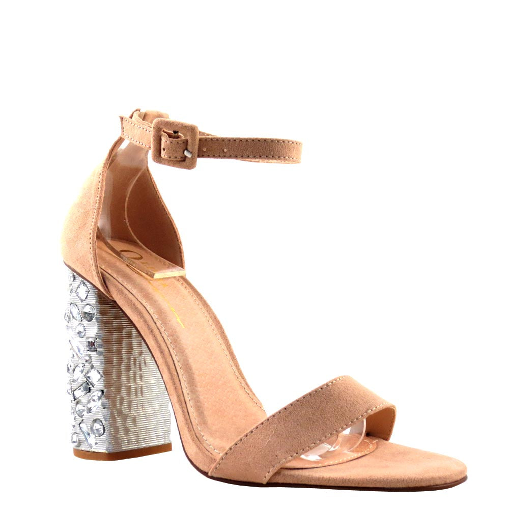 Olivia Jaymes Open Toe Ankle Strap Chunky Jeweled Heels - Hollywood