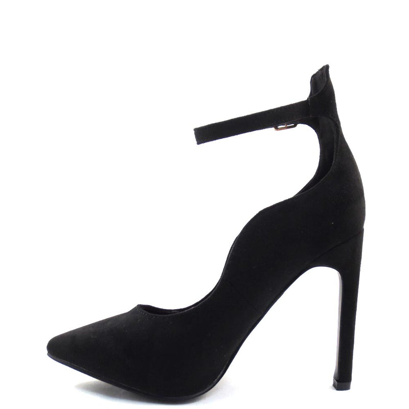 DBDK Closed Pointy Toe Laser Cut Detail Ankle Strap Stiletto Heels  - Ica