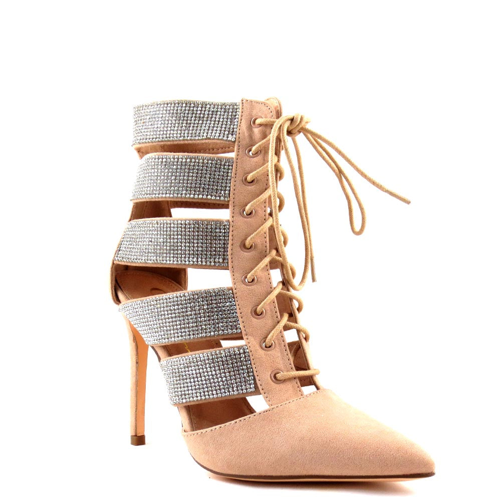 Olivia Jaymes Rhinestone Detail Sides Lace Up Booties - Karma