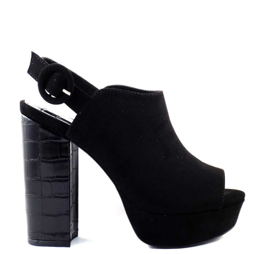 Qupid Open Toe Sling Back Platform Croco Wrapped Chunky Heels - Lad