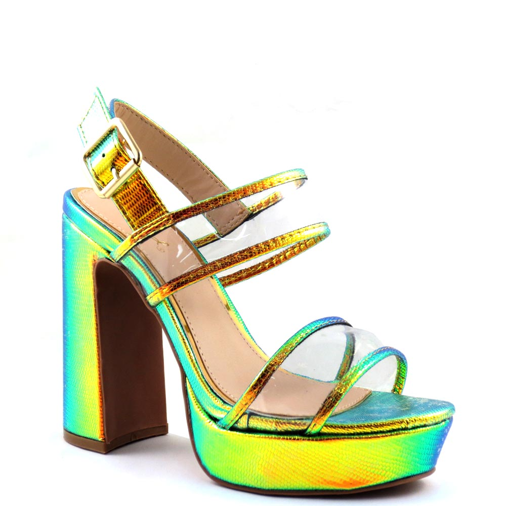 Qupid Clear Upper Straps Open Toe Ankle Strap Chunky Platform Heels - Lightning