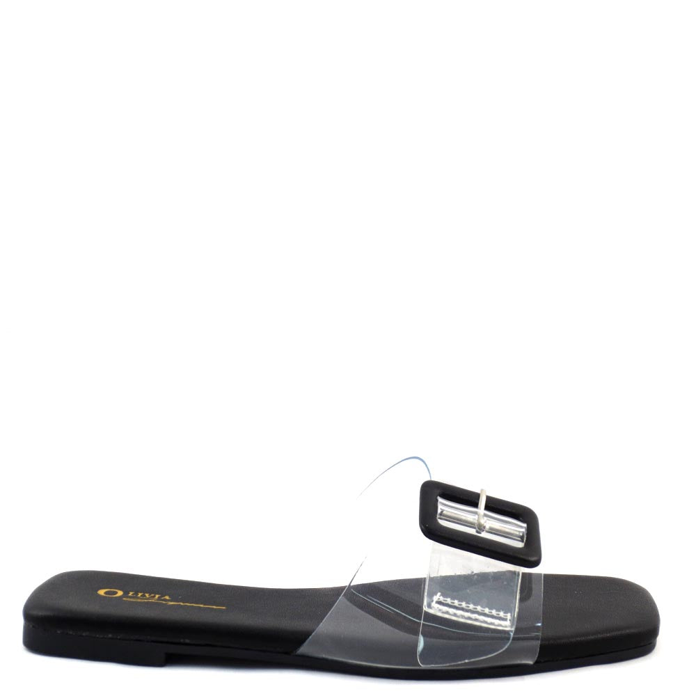 Olivia Jaymes Open Square Toe Clear Upper Buckle Detail Slide In Sandals - Mandi