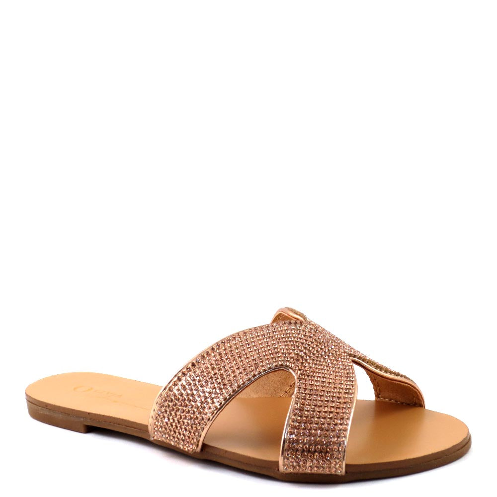 Olivia Jaymes Open Toe H-Shape Rhinestone Detail Slide In Sandals - Marquis