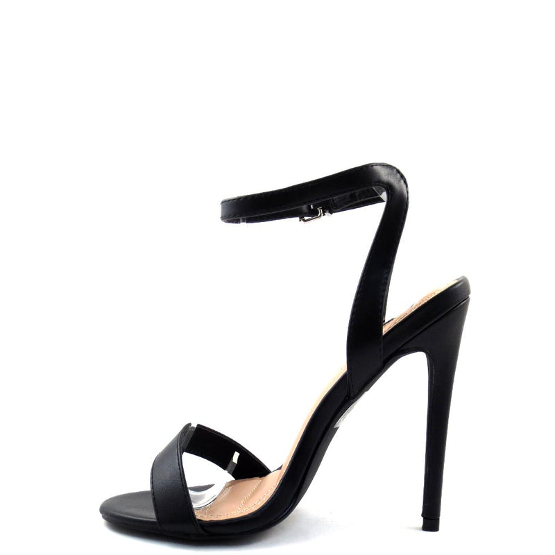 Elegant Collection Open Toe Single Bnad Ankle Strap Stiletto Heels  - Mica